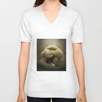 study V-neck T-shirts featuring Study of a Gibbon - The Thinker by Pauline Fowler ( Polly470 )