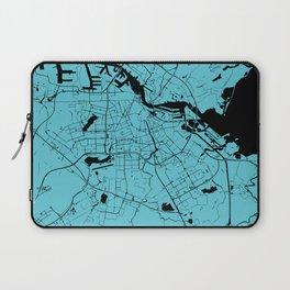 Amsterdam Turquoise on Black Street Map Laptop Sleeve