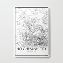 Ho Chi Minh City City Map Vietnam White and Black Metal Print