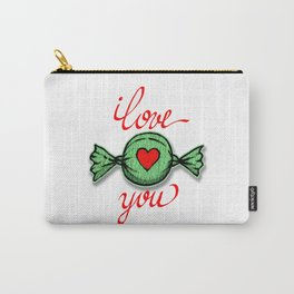 I love you (green) written in red Carry-All Pouch