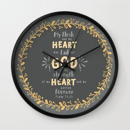 """Strength of my Heart"" Hand-Lettered Bible Verse Wall Clock"