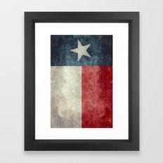 Texas state flag, Vintage banner version Framed Art Print