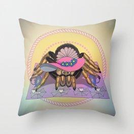 Tarantula tea party Throw Pillow