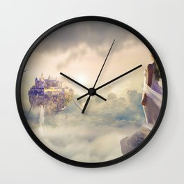 Wonderful Beautiful Fantasy Princess Levitating Kingdom In The Heaven Clouds Dreamland Ultra HD Wall Clock