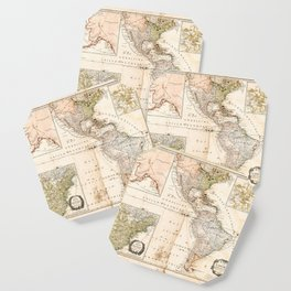 North and South America Map (1795) Coaster