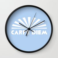 carpe diem Wall Clocks featuring Carpe Diem by DuniStudioDesign