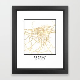 TEHRAN IRAN CITY STREET MAP ART Framed Art Print