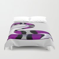 asexual Duvet Covers featuring Asssexual Snake by Umbre