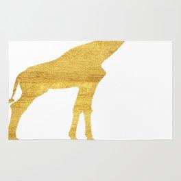 Giraffe Silhouette in Gold Rug