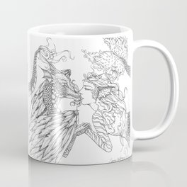 Forbidden Love Between the Ocean and Sky- Black & White Illustration Coffee Mug