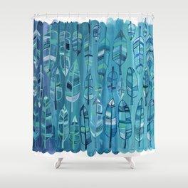 Indigo Feathers Shower Curtain