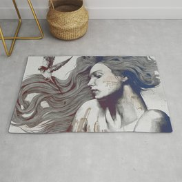 Monument: Red & Blue (sleeping beauty, woman with skyline tattoo and bird) Rug