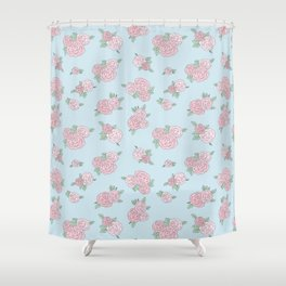 La Vie en Rose - Pink Blue Roses Pattern Shower Curtain