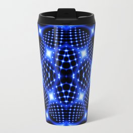 Neon blue glob fractal Travel Mug