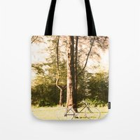 cycling Tote Bags featuring Gone Cycling by AhleetleFang