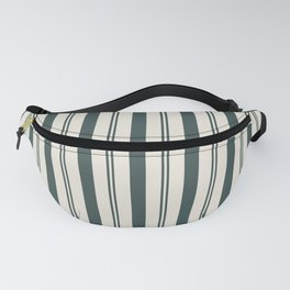 Night Watch Color of the Year PPG1145-7 Thick and Thin Vertical Stripes on Horseradish Off White Fanny Pack