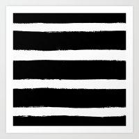Black & White Paint Stripes by Friztin Art Print