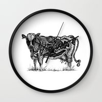 cow Wall Clocks featuring Cow by Rebexi