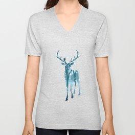 Winter Deer Silhouette Unisex V-Neck