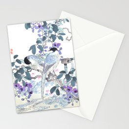 Couple Of Magpies And Purple Flowers - Antique Japanese Woodblock Print Art By Kono Bairei, 1883 Stationery Cards