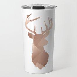 Scandi Tribal Geometric Brushed Copper Stag Travel Mug
