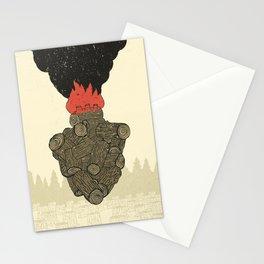Endure Burning - Viktor Frankl Quote - wood heart Stationery Cards