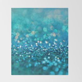Teal turquoise blue shiny glitter print effect - Sparkle Luxury Backdrop Throw Blanket