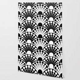 black and white art deco inspired fan pattern Wallpaper