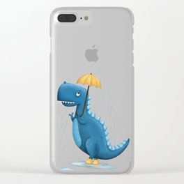 Dino in the Rain Illustration Clear iPhone Case