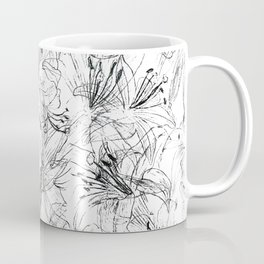 lily sketch black and white pattern Coffee Mug