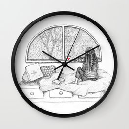 Rainy Day Window pencil illustration Wall Clock