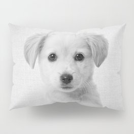 Golden Retriever Puppy - Black & White Pillow Sham