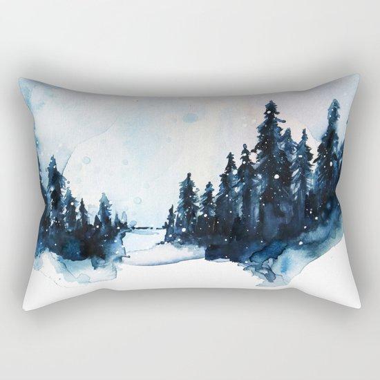 Winter Watercolor Rectangular Pillow