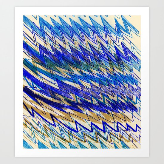 Blue Mountains and waves Art Print