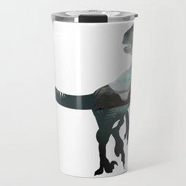 Velociraptor Minimalist Splash Travel Mug