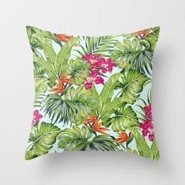 Bird of Paradise Greenery Aloha Hawaiiana Rainforest Tropical Leaves Floral Pattern Throw Pillow