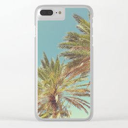 Retro Summer Palm Trees Clear iPhone Case