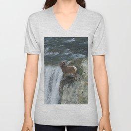 Big Horn Sheep & Rocky Mountain Waterfall Unisex V-Neck