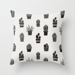 Southwestern Stamped Potted Cactus + Succulents Throw Pillow