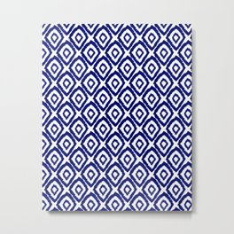 Ikat blue indigo painting modern abstract pattern print ink splash painterly brushstrokes classic  Metal Print