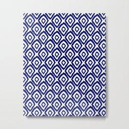 Ikat blue indigo painting modern abstract pattern print ink splash painterly brushstrokes classic  Metal Print