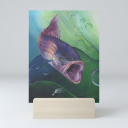 Saltwater Sea Bass with Lure by Sonya Allen Mini Art Print