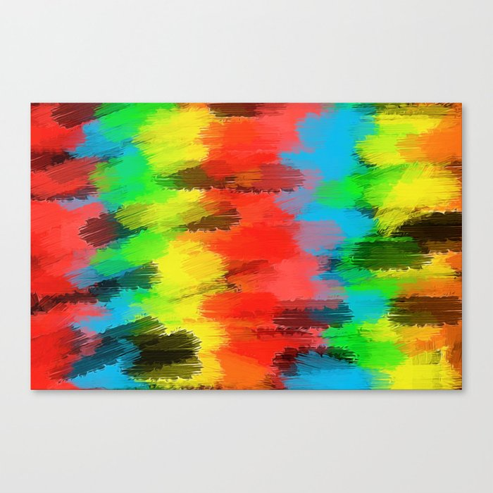 Red Yellow Blue Green And Black Painting Texture Abstract Background Canvas Print By Timla