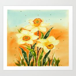 Yellow Daffodils Watercolor Design Art Print