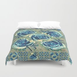 Blue Rose Garden Quilt Square Duvet Cover