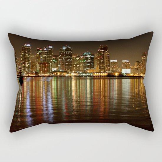 San Diego Skyline Night Rectangular Pillow