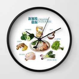 Singapore Chicken Rice Wall Clock