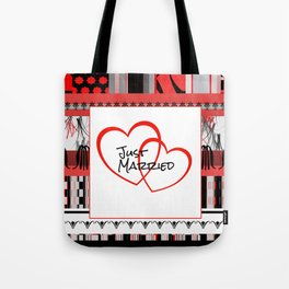 just Married Hearts white pattern I Tote Bag
