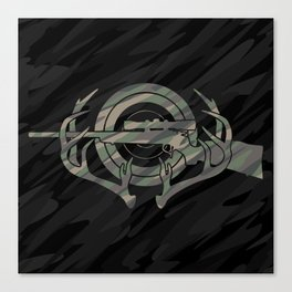 Camouflage Hunting and Shooting Sports Logo with Rifle, Buck Horns and Target Canvas Print