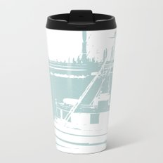 Sailboat in White and Pastel Blue Travel Mug